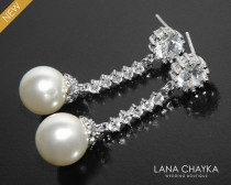 wedding photo - Pearl Bridal Earrings, Swarovski White Pearl Silver Earrings, Wedding Pearl CZ Earrings, Pearl Bridal Jewelry, Pearl Chandelier Earrings