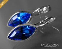 wedding photo - Sapphire Crystal Marquise Earrings Swarovski Sapphire Blue Silver Leverback Earrings Wedding Bridesmaid Blue Jewelry Birthstone September
