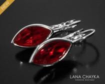 wedding photo - Red Crystal Marquise Earrings, Swarovski Siam Dark Red Silver Earrings, Red Leverback Earrings, Wedding Bridal Bridesmaid Dark Red Earrings