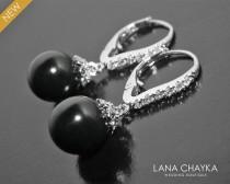 wedding photo - Black Pearl Earrings, Swarovski Mystic Black Silver Earrings, Black Silver Leverback Earrings Black Drop Pearl Earring Wedding Pearl Jewelry
