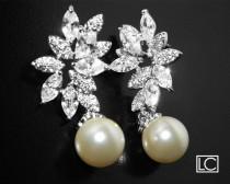 wedding photo - White Pearl Cubic Zirconia Bridal Earrings, Swarovski 10mm Pearl Earrings, Wedding White Pearl CZ Earrings, White Pearl CZ Bridal Jewelry