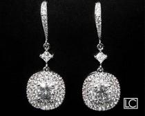 wedding photo - Bridal Earrings, Crystal Chandelier Silver Wedding Earrings, Cubic Zirconia Dangle Earrings, Bridal Statement Earrings, Wedding Jewelry