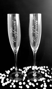 wedding photo - Personalized Champagne Flutes Wedding, Unique Wedding Gift for Couple, Mr and Mrs Champagne Flutes, Engagement Gift, His and Hers Gifts Best