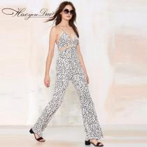 wedding photo - Sexy Printed Hollow Out Slimming Crossed Straps Strappy Top Jumpsuit Long Trouser - Bonny YZOZO Boutique Store