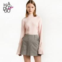 wedding photo - School Style Sweet Flare Sleeves High Neck Accessories Fall Buttons Sweater - Bonny YZOZO Boutique Store