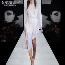 wedding photo - Vogue Asymmetrical Slimming Trail Dress White Summer Casual Blouse Dress - Bonny YZOZO Boutique Store