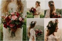 wedding photo - wedding bouquet, wedding flowers, boho bouquet, bridal bouquet, pink, red, ,burgundy, eucalyptus, wedding flower set, destination wedding