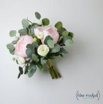 wedding photo - wedding bouquet, wedding flowers, boho bouquet, bridal bouquet, pink, peonies, white, eucalyptus, wedding flower set, destination wedding