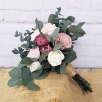 wedding photo - Wild Eucalyptus & Dusty Rose Sola Flower Bouquet