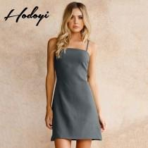 wedding photo - Vogue Sexy Hollow Out One Color Summer Tie Strappy Top Dress - Bonny YZOZO Boutique Store