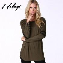 wedding photo - Oversized Vogue Scoop Neck Fall 9/10 Sleeves Stripped T-shirt - Bonny YZOZO Boutique Store