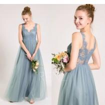 wedding photo - Party Dress Dusty Blue Prom Dress,Scalloped V Neck Bridesmaid Dress,Illusion Lace Back Tulle Dress,A-Line Maxi Dress,Wedding Dress(HS693)