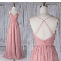 wedding photo - Bridesmaid Dress Dusty Pink Tulle Dress,Wedding Dress,Spaghetti Strap Prom Dress,Ruched V Neck Low Back Party Dress,A-Line Maxi Dress(HS517)