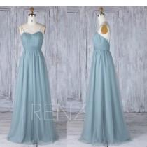 wedding photo - Bridesmaid Dress Dusty Blue Tulle Maxi Dress,Sweetheart Ruched Prom Dress,Beaded Criss Cross Spaghetti Straps Ball Gown Wedding Dress(LS353)