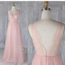 wedding photo - Bridesmaid Dress Blush Pink Tulle Wedding Dress,Lace V Neck Prom Dress,Illusion Back Maxi Dress,Ruched ALine Evening Gown Full Length(LS340)
