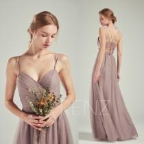 wedding photo - Bridesmaid Dress Dark Mauve Tulle Dress,Wedding Dress,V Neck Maxi Dress,Illusion Lace Back Prom Dress,Criss Cross Straps Party Dress(LS498)