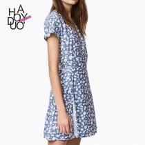 wedding photo - Simple Vintage Pleated V-neck Floral White Blue Summer Short Sleeves Dress - Bonny YZOZO Boutique Store