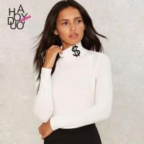 wedding photo - Must-have Vogue Simple Slimming High Neck 9/10 Sleeves T-shirt Basics - Bonny YZOZO Boutique Store