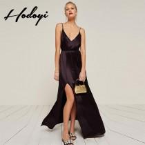 wedding photo - Vogue Sexy Split Open Back Satin Summer Dress Strappy Top - Bonny YZOZO Boutique Store