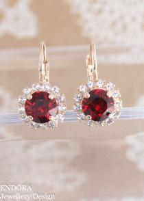 wedding photo - Red crystal earrings,swarovski earrings,red earrings,red bridal earrings,crystal earrings,stud earrings,red drop earrings,swarovski siam red