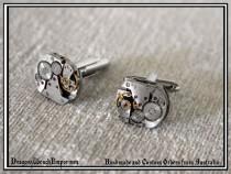 wedding photo - Cufflinks with complete watch inner workings. Steampunk cufflinks. Gentlemens cufflinks. Recycled watch inner cufflinks. Made in Australia