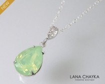 wedding photo - Chrysolite Green Opal Necklace, Mint Green Opal Crystal Necklace, Swarovski Rhinestone Teardrop Necklace, Bridal Bridesmaid Wedding Jewelry