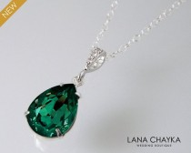 wedding photo - Emerald Crystal Necklace, Swarovski Emerald Teardrop Silver Necklace, Wedding Bridal Bridesmaids Green Jewelry, Emerald Rhinestone Pendant