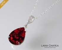 wedding photo - Red Crystal Necklace, Swarovski Siam Dark Red Rhinestone Necklace, Red Silver Teardrop Bridal Necklace, Wedding Bridesmaids Red Jewelry