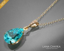 wedding photo - Light Turquoise Crystal Necklace Swarovski Turquoise Rhinestone Gold Pendant Teal Teardrop Wedding Necklace Turquoise Gold Bridal Necklace