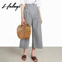 wedding photo - Office Wear Vogue Simple High Waisted Lattice Summer Casual Wide Leg Pant - Bonny YZOZO Boutique Store