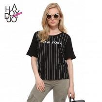 wedding photo - Street fashion New York letter vertical stripes print loose crew neck short sleeves black t-shirt - Bonny YZOZO Boutique Store