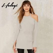 wedding photo - Vogue Sexy Split Asymmetrical Hollow Out Curvy Summer Knitted Sweater - Bonny YZOZO Boutique Store