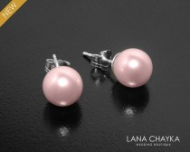 wedding photo - Blush Pink Pearl Stud Earrings, Swarovski 8mm Rosaline Pearl Wedding Earrings, 925 Sterling Silver Pink Pearl Studs, Pink Bridesmaid Earring