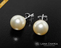 wedding photo - Bridal Pearl Stud Earrings Swarovski 8mm Ivory Pearl Wedding Earrings 925 Sterling Silver Pearl Studs Bridesmaid Earrings Prom Pearl Jewelry