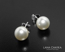 wedding photo - White Pearl Bridal Stud Earrings Swarovski 8mm Pearl Wedding Earrings 925 Sterling Silver Pearl Studs Bridesmaid Earrings Prom Pearl Jewelry