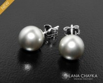 wedding photo - Light Grey Pearl Stud Earrings Swarovski 8mm Pearl Wedding Earrings 925 Sterling Silver Pearl Stud Bridesmaid Grey Earrings Grey Pearl Studs
