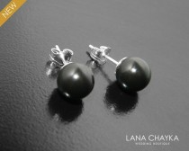 wedding photo - Black Pearl Earring Studs, Swarovski Mystic Black Earrings, Black Silver Studs, Bridal Pearl Earrings, Wedding Jewelry, Bridesmaid Earrings