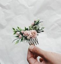 wedding photo - Hair comb Bridesmaids hair pieces blush and greenery headpiece, floral hair piece, pale pink hair clip, bridal hair piece, greenery comb,