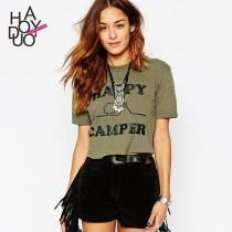 wedding photo - Summer 2017 new street HAPPY CAMPER letter printing short sleeve t-shirt woman - Bonny YZOZO Boutique Store