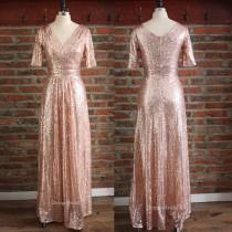 wedding photo - Elegant Evening Dresses, Sequin Dress with Crossover Bodice, Ball Gown, V neck Dress, Half Sleeve Dress with Ruched High Waist