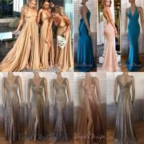 wedding photo - Bridesmaid Dress Long Side Slit V-neck A-Line Dress Candy Gold Rosegold Multi Functional Dress Rose Evening Gown Wedding Party Plus Size
