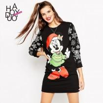 wedding photo - 2017 Spring-Summer New Style Fashion personality cartoon printed sweatshirt skirt casual Sport Style grid dress women - Bonny YZOZO Boutique Store