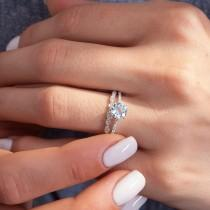 wedding photo - Ring with Sapphire (Aquamarine or Moissanite) and Natural Diamonds / 14 K Solid White Gold / Engagement Ring / Christmas Gift For Women