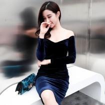 wedding photo - Attractive Slimming Sheath It Girl 9/10 Sleeves Velvet Formal Wear Dress - Bonny YZOZO Boutique Store