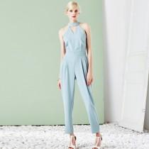 wedding photo - Sexy Ruffle Hollow Out Halter V-neck Off-the-Shoulder Casual Harem Pant Long Trouser - Bonny YZOZO Boutique Store