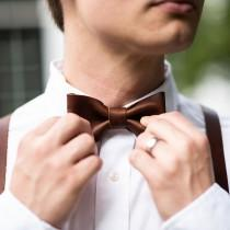 wedding photo - Groomsmen Wedding Leather Bow Tie Bowtie - Gifts for Him- Gifts for Husband - Wedding Party Gift - Christmas Gift For Him - The Mr. Baker