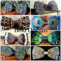 wedding photo - Handmade feather bow ties, huge discount shipping on multiple bowties.