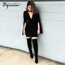 wedding photo - Fall 2017 hot new high waist slim v neck solid color Lantern bandage dress - Bonny YZOZO Boutique Store