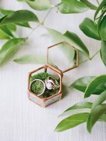wedding photo - Copper Ring Bearer Box, Glass Wedding Ring Box, Geometric Glass Ring Box, Glass Wedding Ring Holder, Engagement Ring Box, Proposal Ring Box