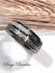 wedding photo - Real Antler Elk Ring, Men and Women Wedding Band Meteorite, Meteorite Ring Women, Meteorite Ring Men, Deer Antler Rings by  Rings Paradise